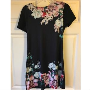 Black floral print dress short sleeve casual